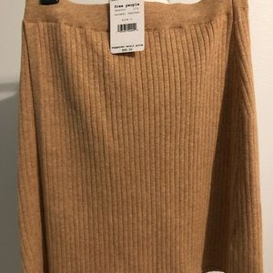 Free People Ribbed Skirt Caramel Heather Size L